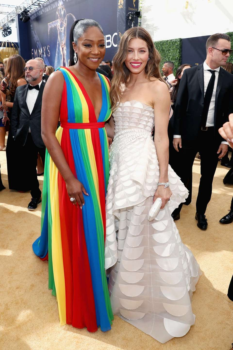Tiffany Haddish, left, and Jessica Biel arrive for