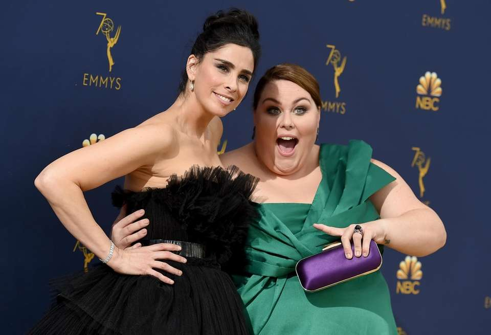 Sarah Silverman, left, and Chrissy Metz arrive at