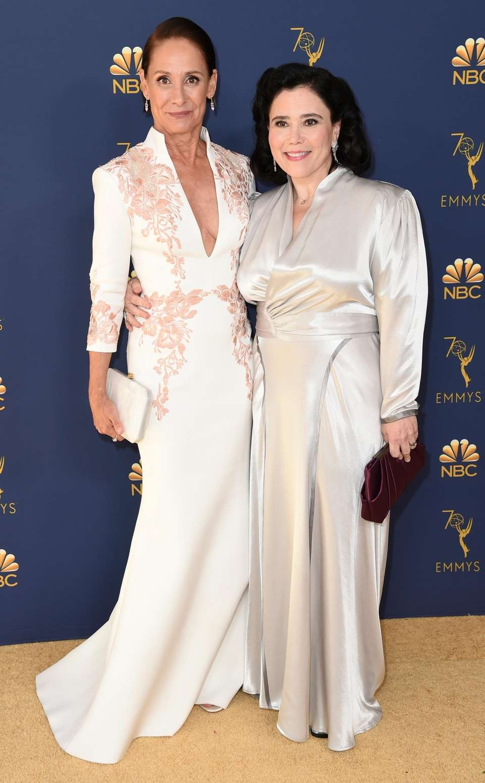 Laurie Metcalf, left, and Alex Borstein arrive for