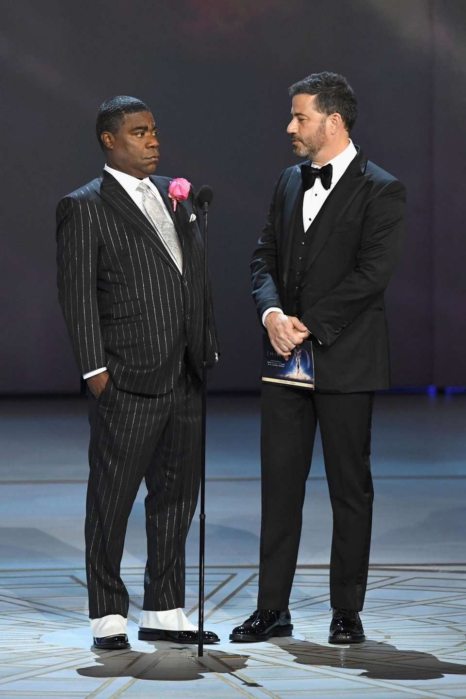 Tracy Morgan, left, and Jimmy Kimmel onstage.