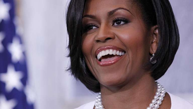 First lady Michelle Obama speaks to employees and