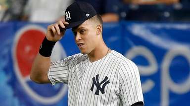 Aaron Judge of the New York Yankees stands