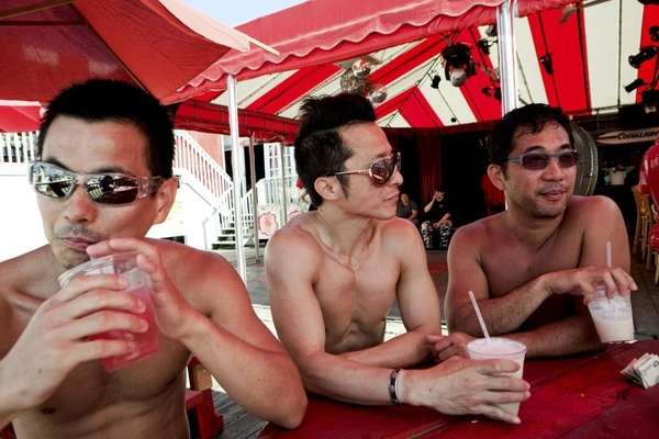 A few Japanese friends enjoy cold drinks during