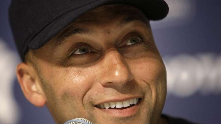 New York Yankees' Derek Jeter answers questions about