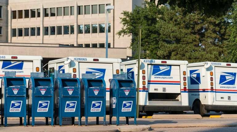 Delivery vehicles parked at the United States Post
