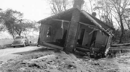 This house on Dune Road was washed inland,
