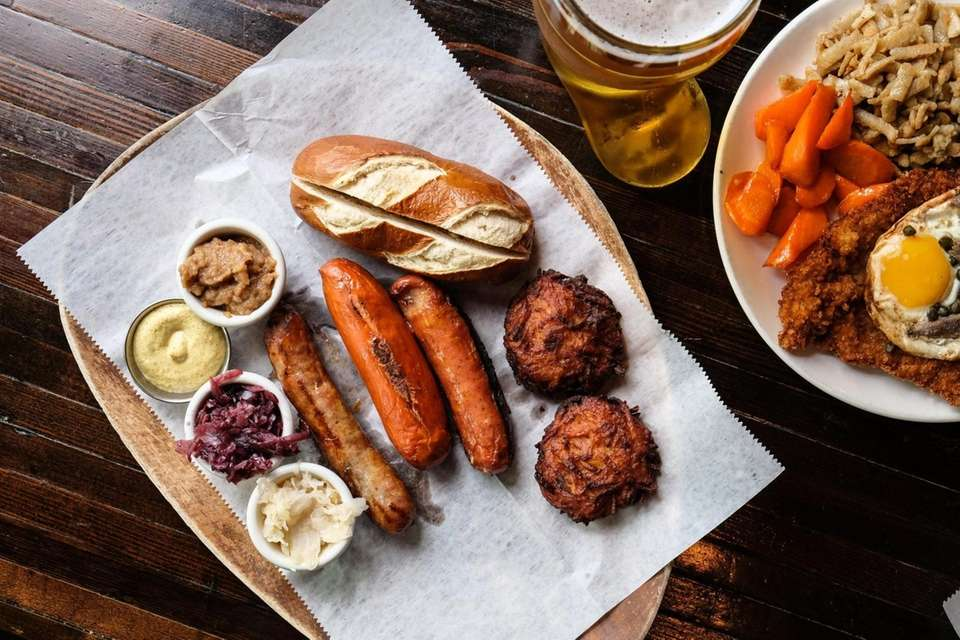 The Wurst platter features a trio of Bratwurst,