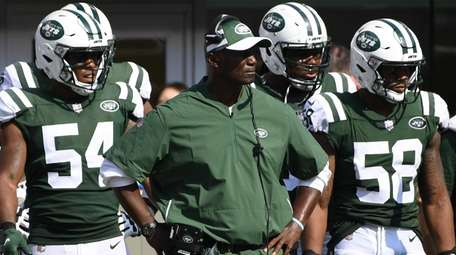 Jets coach Todd Bowles looks on from the