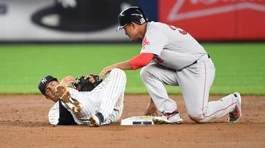 Yankees second baseman Gleyber Torres is pulled of