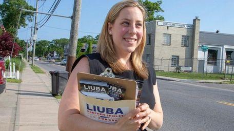 Democratic candidate Liuba Grechen Shirley campaigns in