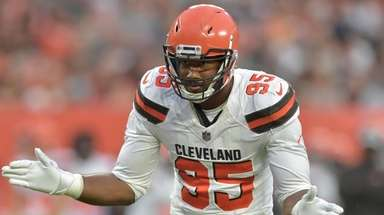 The Browns' Myles Garrett reacts during a preseason