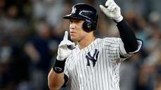 The Yankees' Aaron Judge reacts at second base