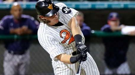 Long Island Ducks Taylor Ard drives a double