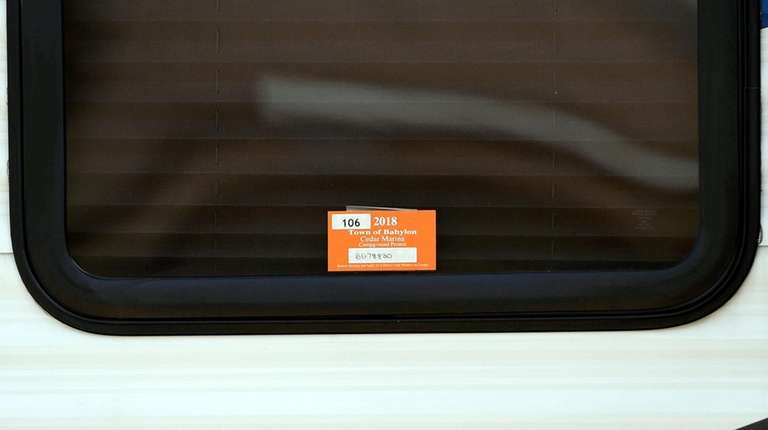A parking permit on a trailer in the