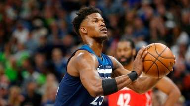 Minnesota Timberwolves' Jimmy Butler plays against the Houston