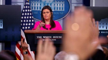 White House press secretary Sarah Huckabee Sanders speaks