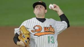 Ducks pitcher Jake Fisher delivers against the Somerset