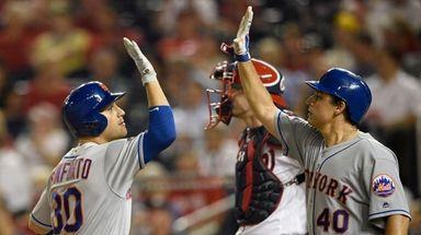 The Mets' Michael Conforto celebrates his two-run home