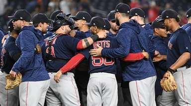 The Red Sox celebrate clinching the AL East
