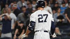 New York Yankees designated hitter Giancarlo Stanton returns