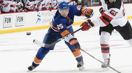 Islanders defenseman Devon Toews in the third period