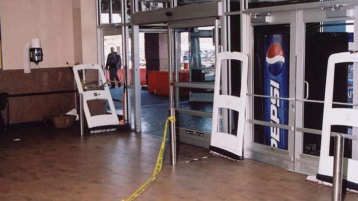The doors of the Valley Stream Walmart after