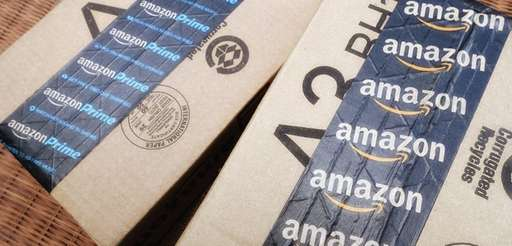 Amazon packing tape on Amazon.com shipping boxes.