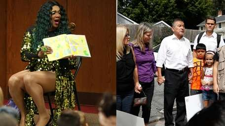 Harmonica Sunbeam, a drag queen, left, reads to
