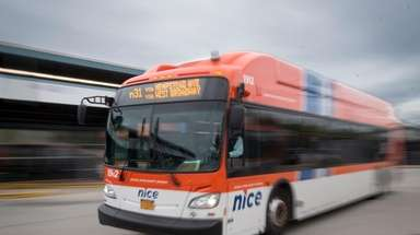 NICE buses at Rosa Parks Hempstead Transit Center