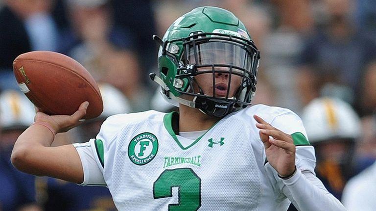 Nick Lundin #3, Farmingdale quarterback, throws a pass