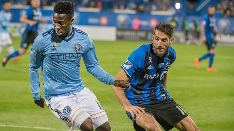 New York City FC's Ebenezer Ofori keeps the