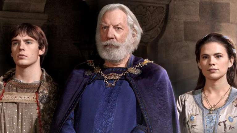 Sam Claflin, left, plays Richard, Donald Sutherland is