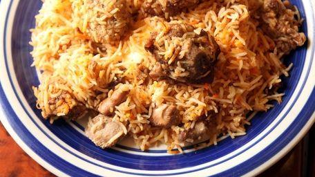 Chicken biryani is one of the specialties served