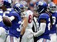 Giants cornerback Donte' Deayon celebrates with Janoris Jenkins