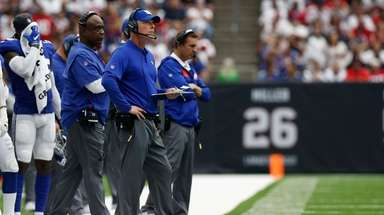 Pat Shurmur looks on during win at Houston,