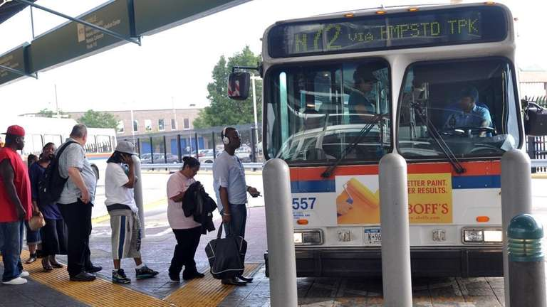 MTA customers board the N72 Long Island Bus