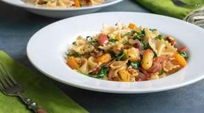 Farfalle tossed with sautéed apples, roasted butternut squash,