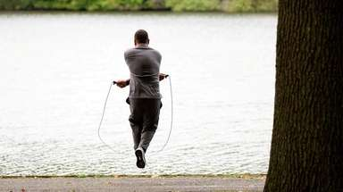 Kevin Estevez, 30, of Deer Park, jumps rope