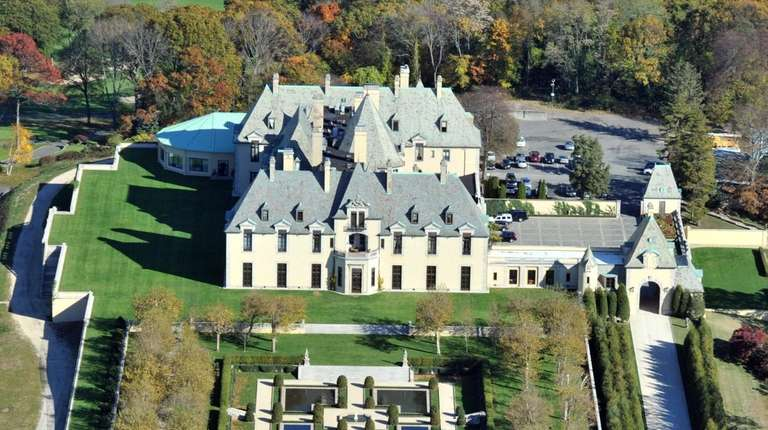 An aerial view shows Oheka Castle and the