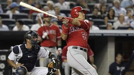 Los Angeles Angels designated hitter Hideki Matsui (55)