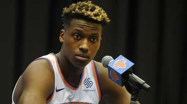 Frank Ntilikina of the Knicks fields questions during