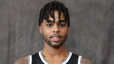 Nets point guard D'Angelo Russell at the Nets