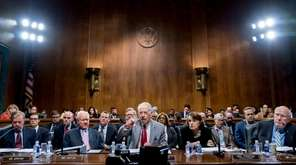 Senate Judiciary Committee chairman Chuck Grassley, center, leads