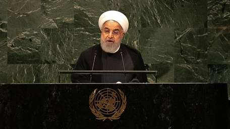 Hassan Rouhani, Iran's president, speaks during the UN