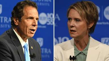 Gov. Andrew M. Cuomo and Cynthia Nixon speak