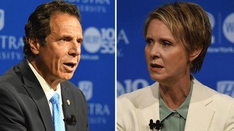 Gov. Andrew M. Cuomo and Cynthia Nixon speak