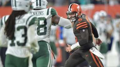 Browns quarterback Baker Mayfield celebrates during a game
