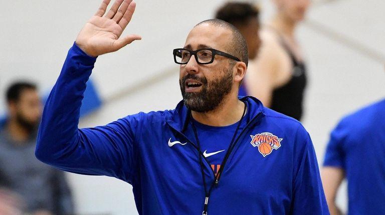 New York Knicks head coach David Fizdale gestures
