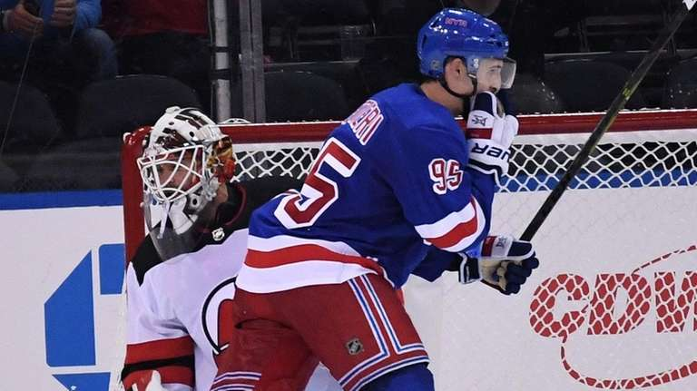 Rangers center Vinni Lettieri reacts after scoring the