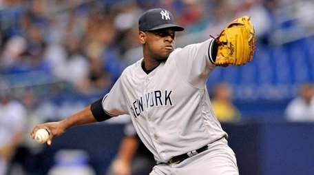 Yankees starter Luis Severino pitches against the Tampa
